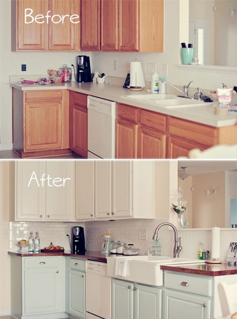 How to Paint Kitchen Cabinets Before and After