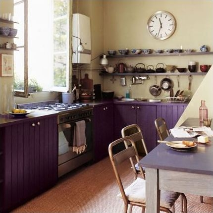 Purple Kitchen - Kitchen Colors that Match with Stainless Steel