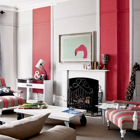 Red Accent Wall - Living Room Wall Paint Ideas