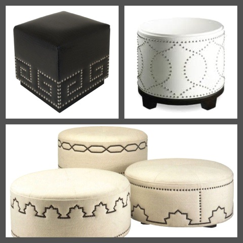 Ottoman with a Decorative Nailhead Design