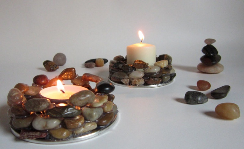 River Rocks Candle Holder - DIY Candle Holder - How to Make Rock Candle Holders