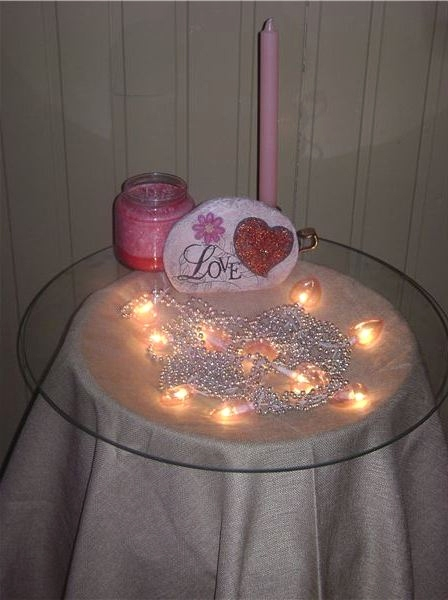 Valentine Heart Lights on a Table - Valentine Decorations for the Home