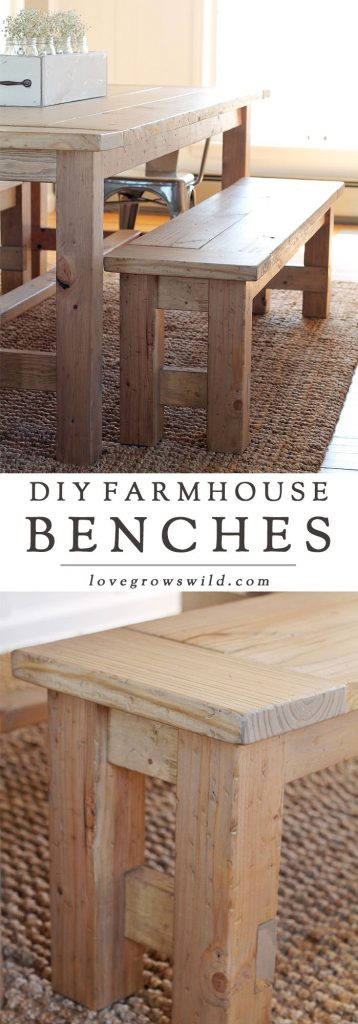 DIY Farmhouse Bench - Love Grows Wild