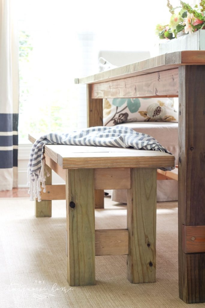 DIY Farmhouse Bench for less than $40 by The Turquoise Home