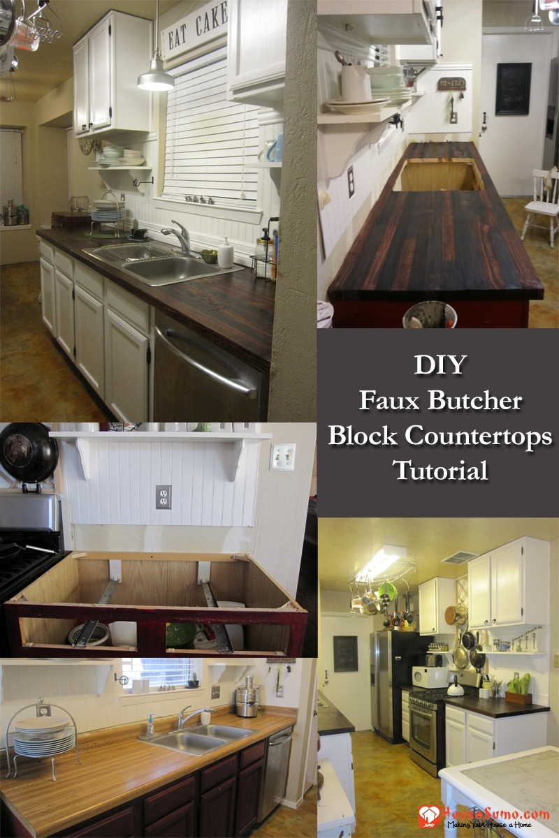 DIY Faux Butcher Block Countertops: How to Make Faux Butcher Block Countertops