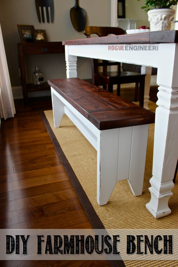 Easy to Build DIY Farmhouse Bench with Tapered Legs, Free Plans via Rogue Engineer