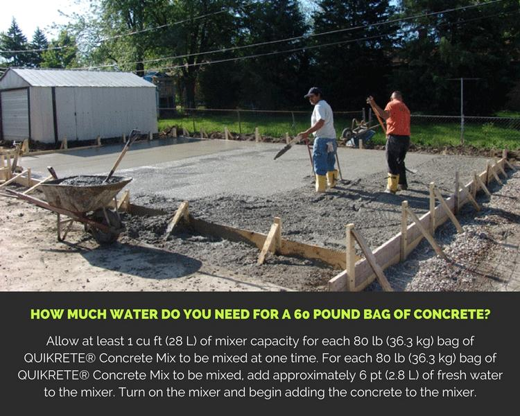 How Much Water do You Need for a 60 Pound Bag of Concrete?