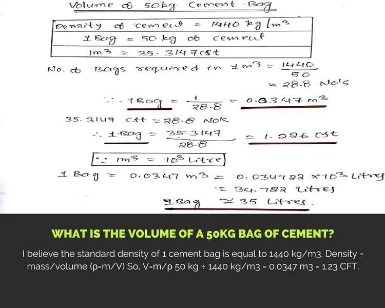 What is the Volume of a 50kg Bag of Cement?