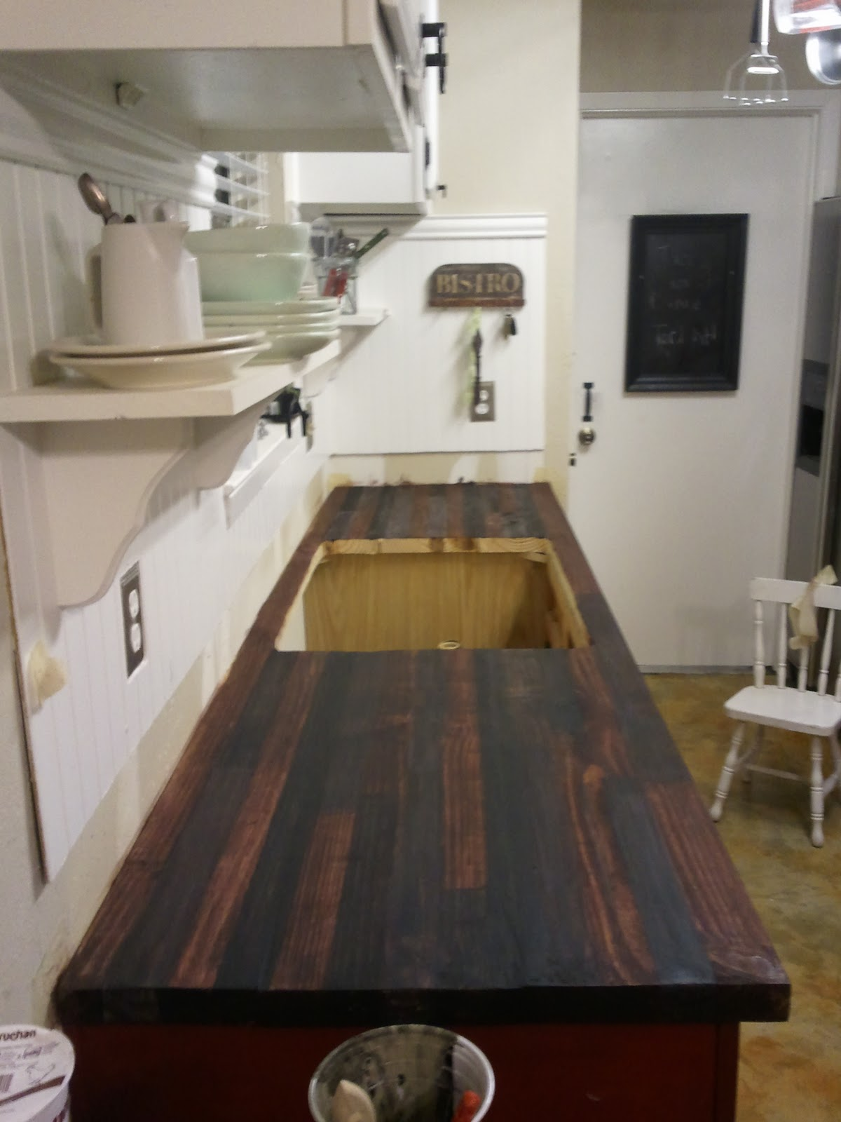 Brush with Stain Gel - How to Make a Butcher Block Countertop