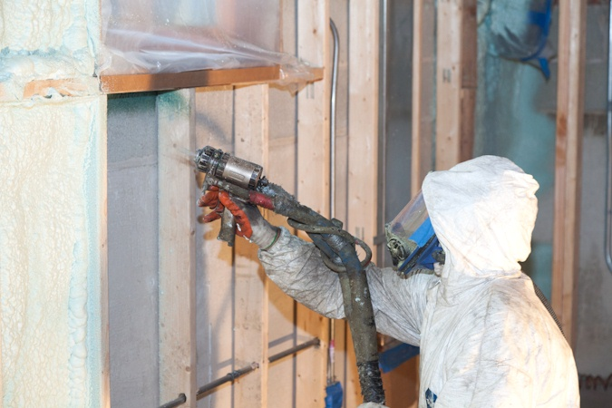 Spray foam used internally to insulate solid walls