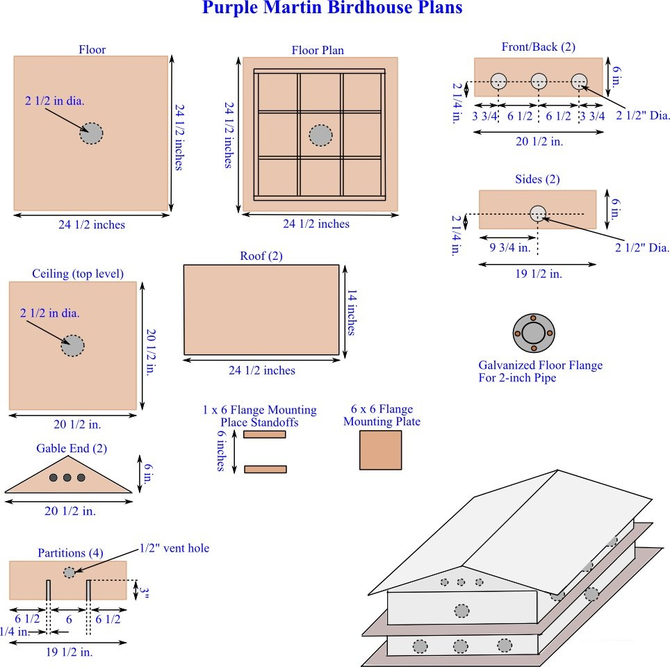 Purple Martin House Plans Parts